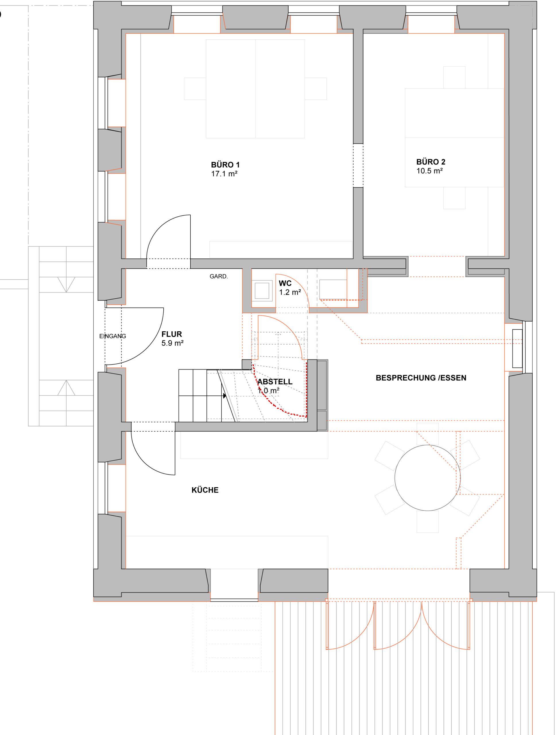 052_Wohnhaus Tovar mit Büro_Grundriss Erdgeschoss_FFM-ARCHITEKTEN