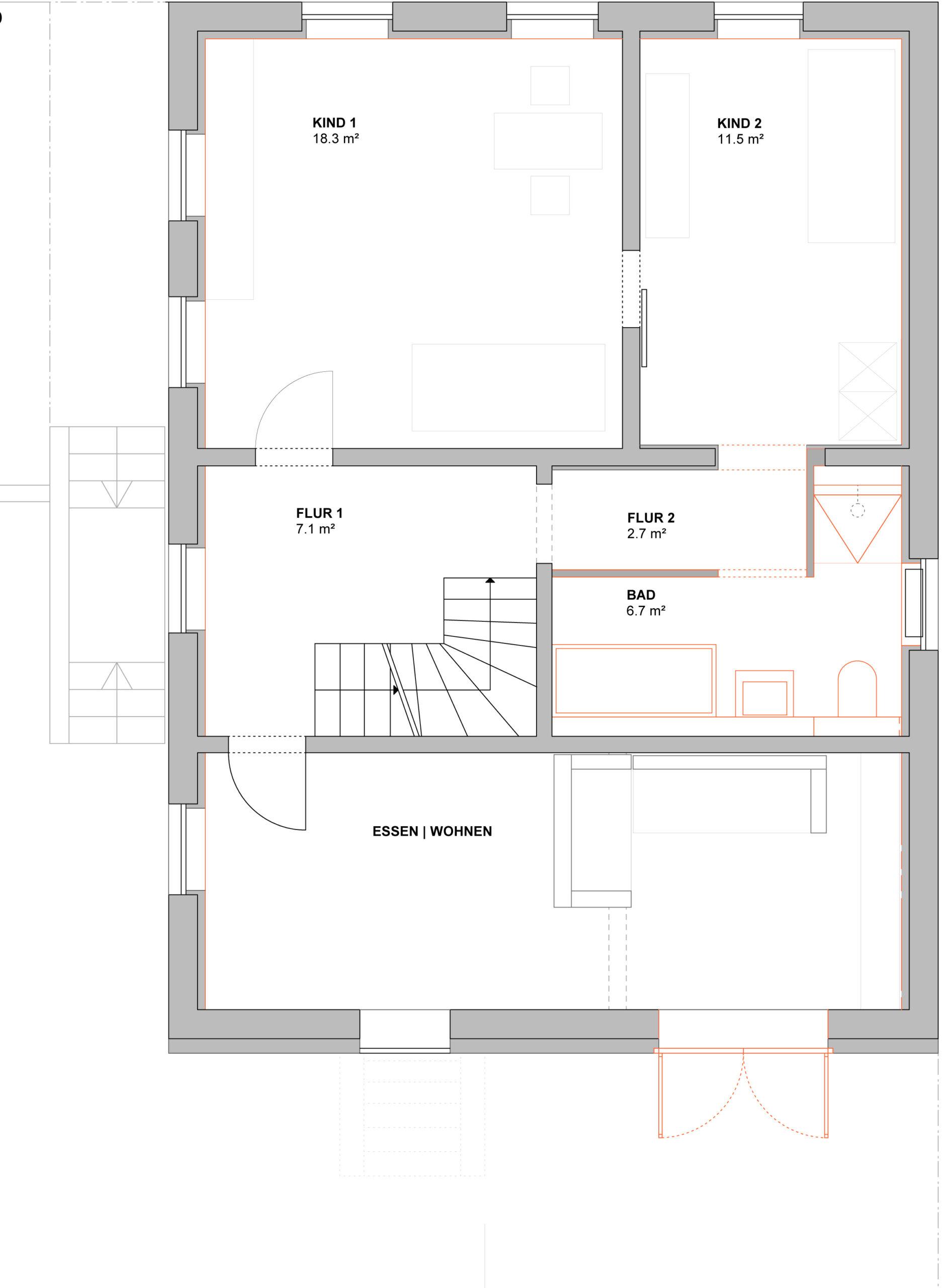 052_Wohnhaus Tovar mit Büro_Grundriss Obergeschoss_FFM-ARCHITEKTEN