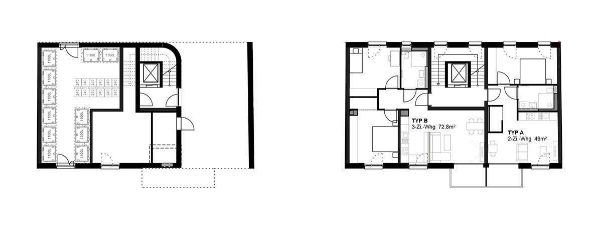 Haus 42 Grundriss Erdgeschoss und Regelgeschoss