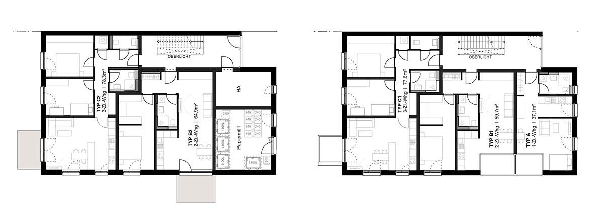 Haus 42A Grundriss Erdgeschoss und Regelgeschoss