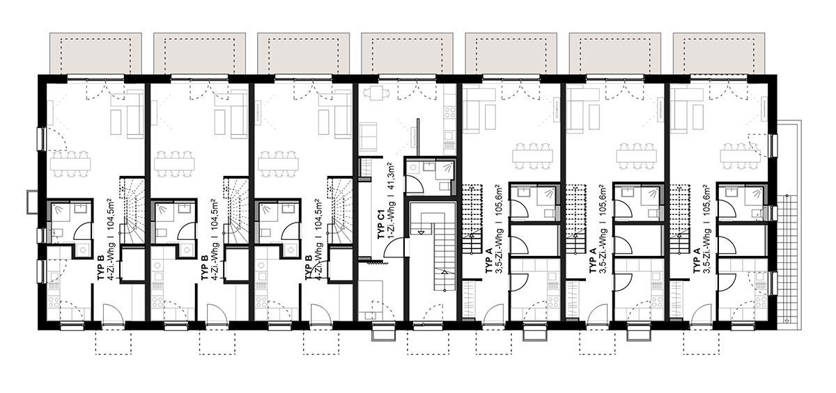 Haus 42B/E – Maisonette – Grundriss Erdgeschoss