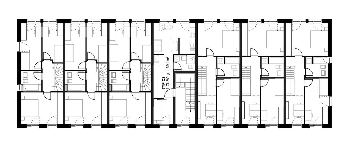 Haus 42B/E – Maisonette – Grundriss 1. Obergeschoss