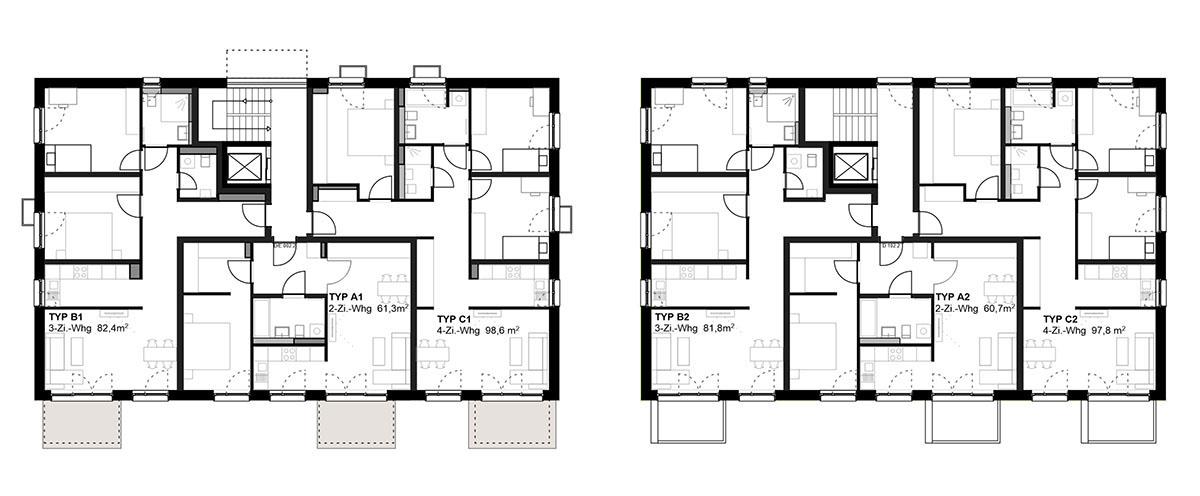Haus 42C/D Grundriss Erdgeschoss und Regelgeschoss