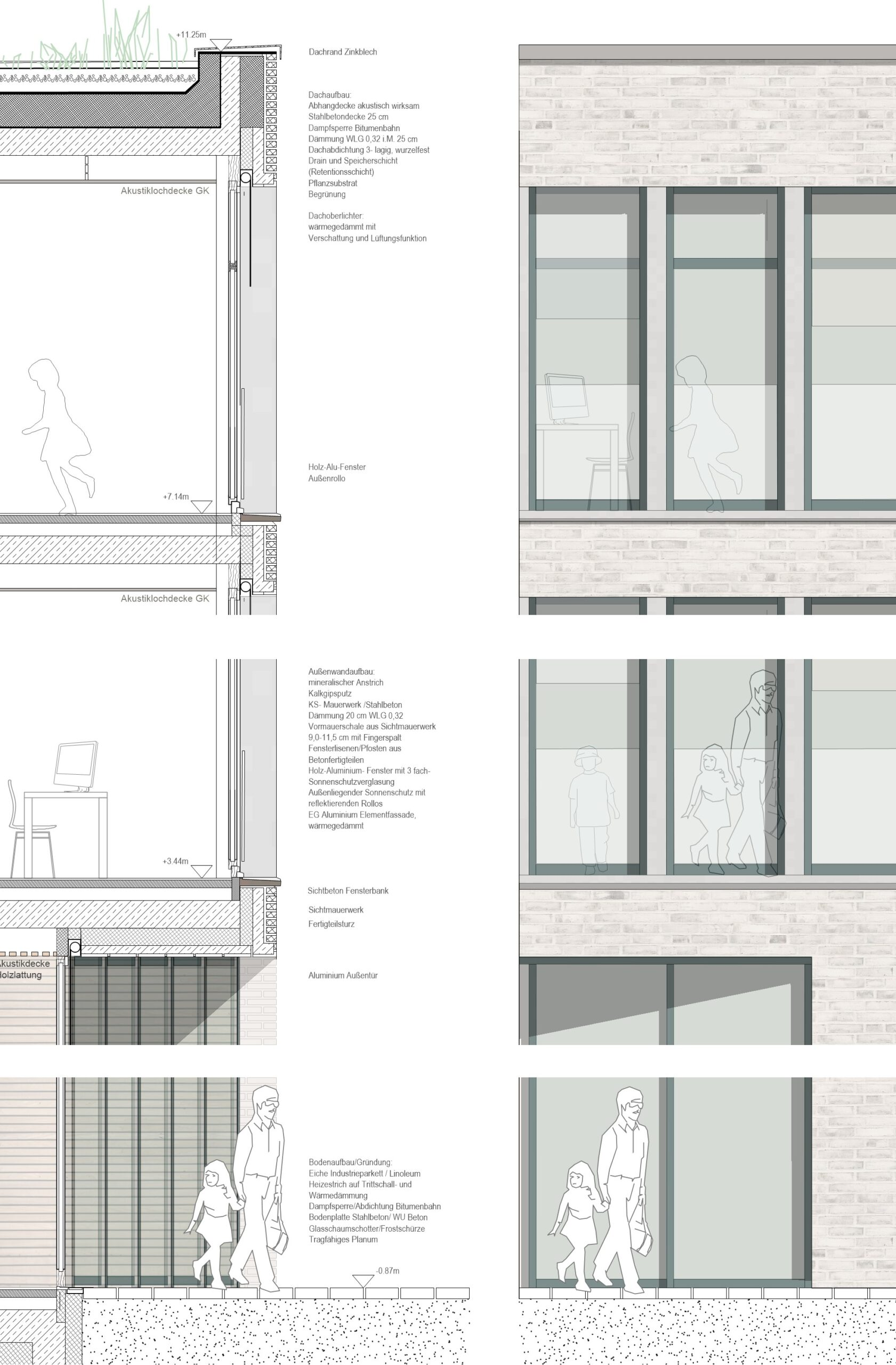 Fassadenschnitt Wettbewerb Grundschule Münster