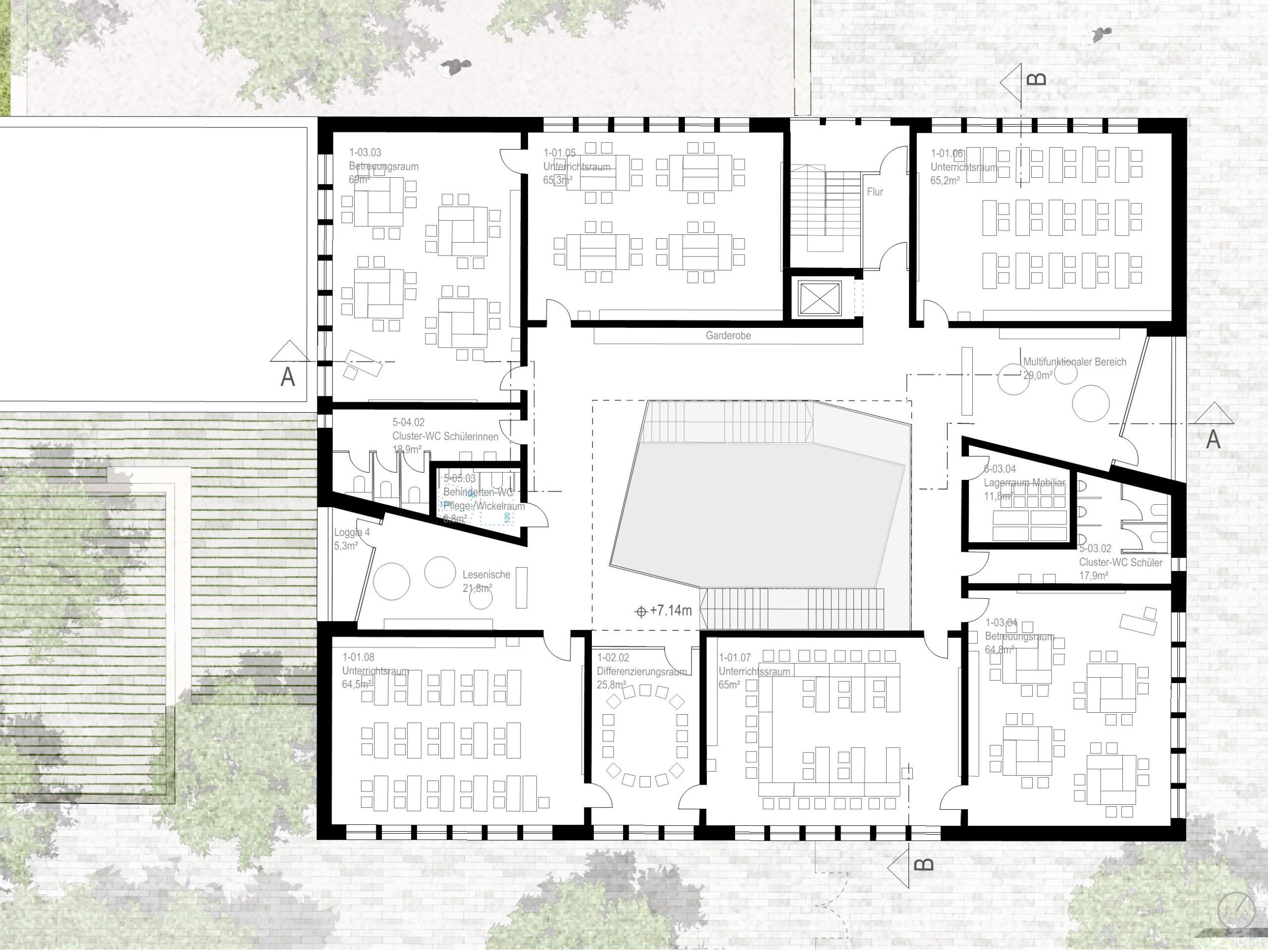 Grundriss 2. Obergeschoss Wettbewerb Grundschule Münster