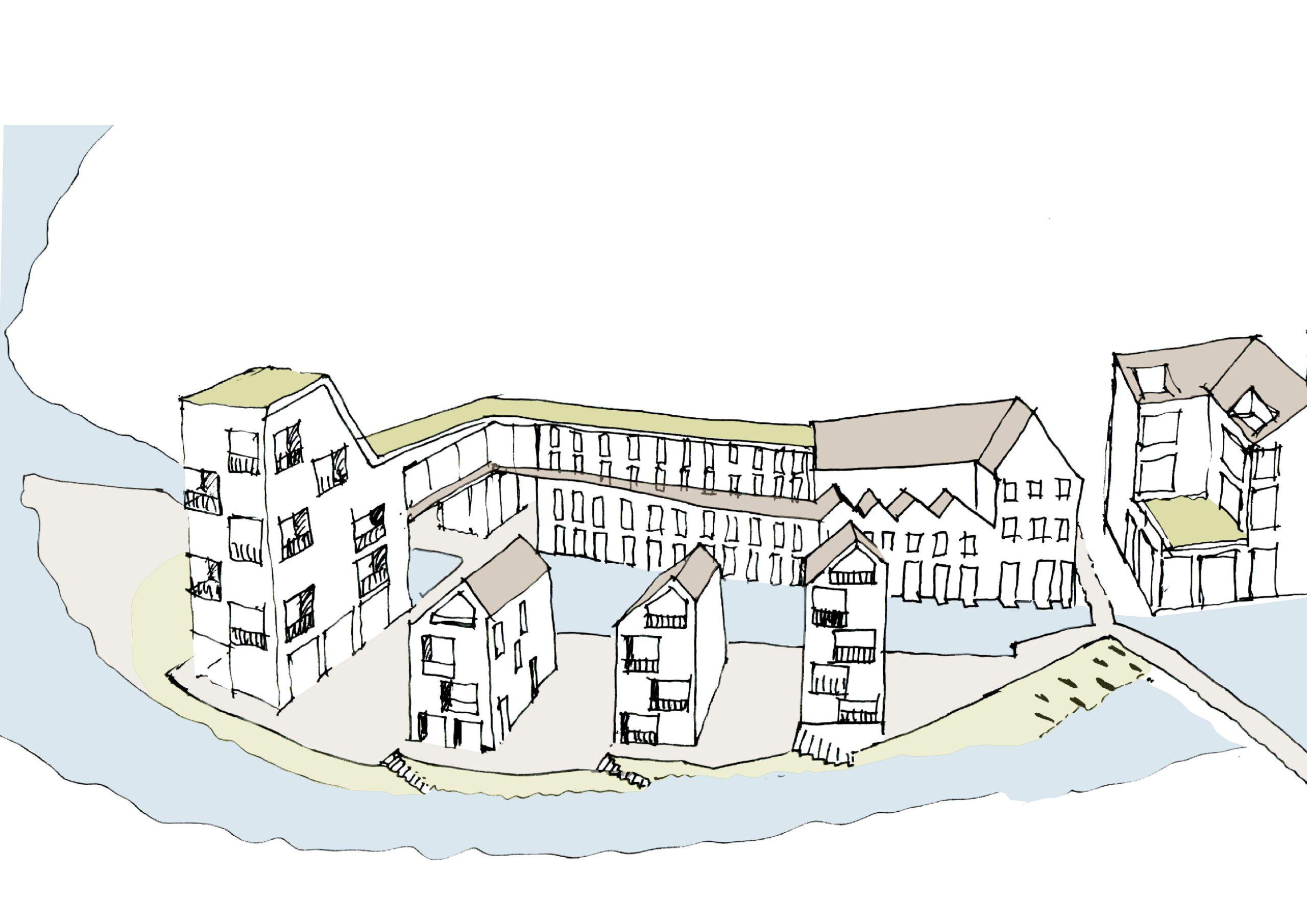 Strandbad mit Schlauchboothafen - Wettbewerb Quartier Backnang West - Murr-Inseln