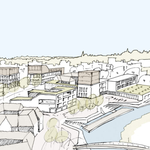 StrandKaelbleviertel - Wettbewerb Quartier Backnang West - Murr-Inseln mit Himmel