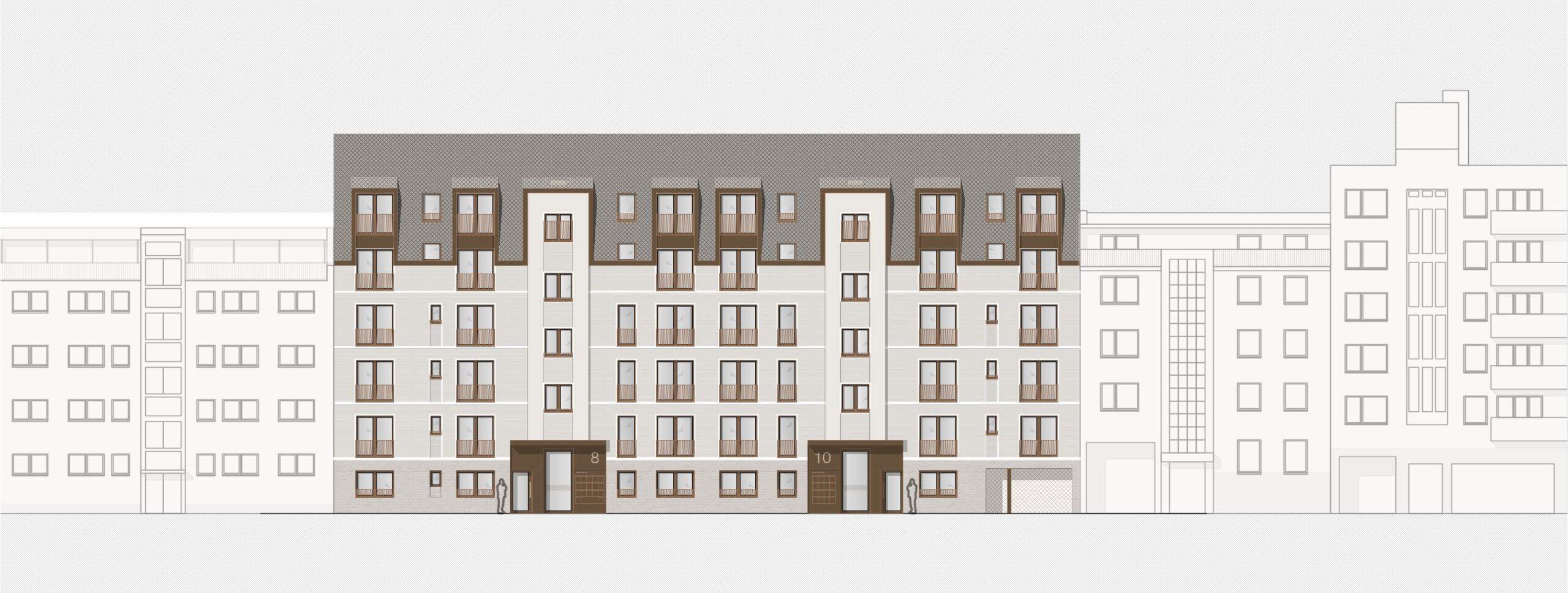 Ansicht Haus 1 359 Projekt Gabelsberger Straße Offenbach FFM-ARCHITEKTEN