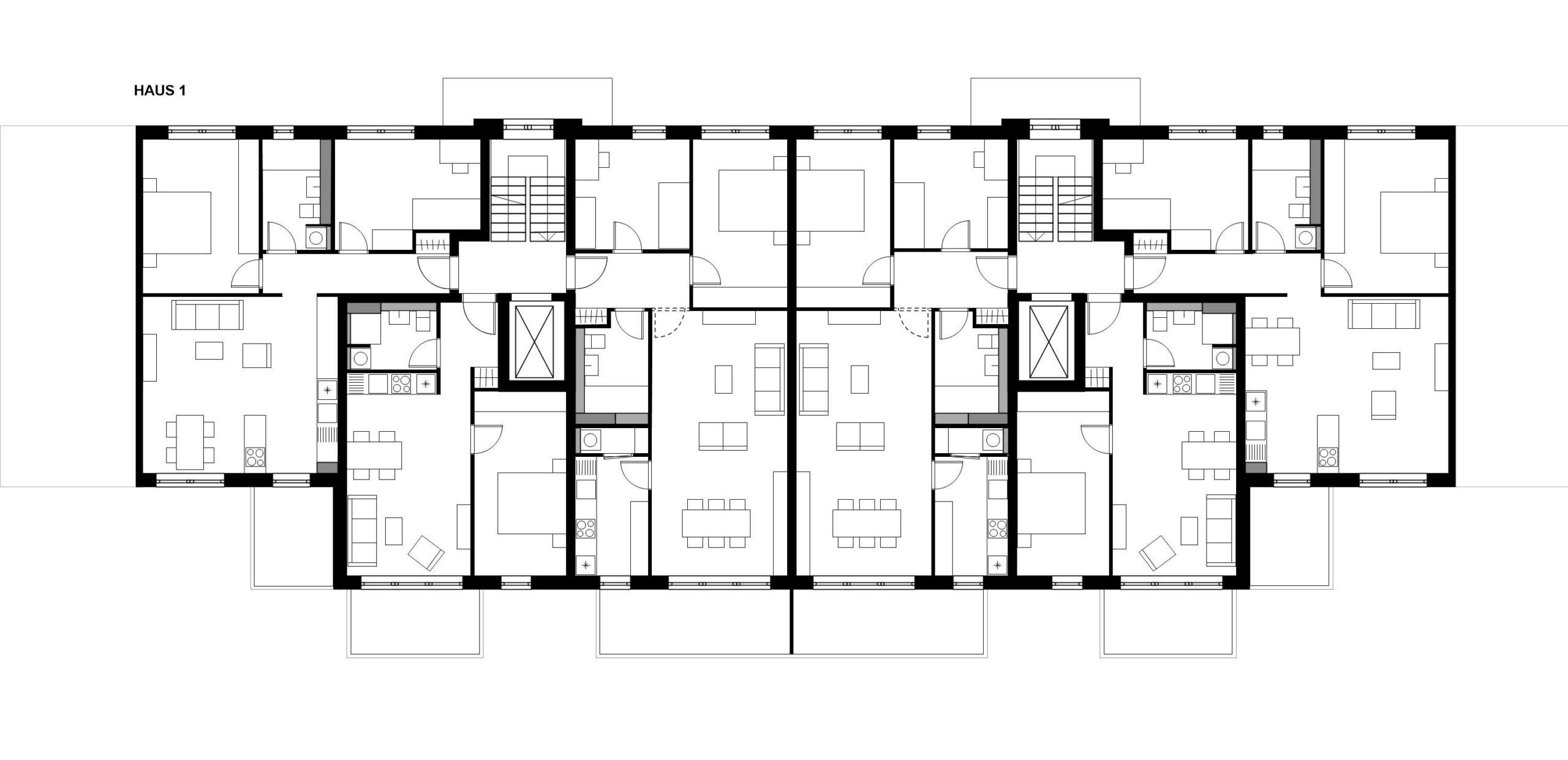 Grundriss Regelgeschoss 359 Projekt Gabelsberger Straße Offenbach FFM-ARCHITEKTEN