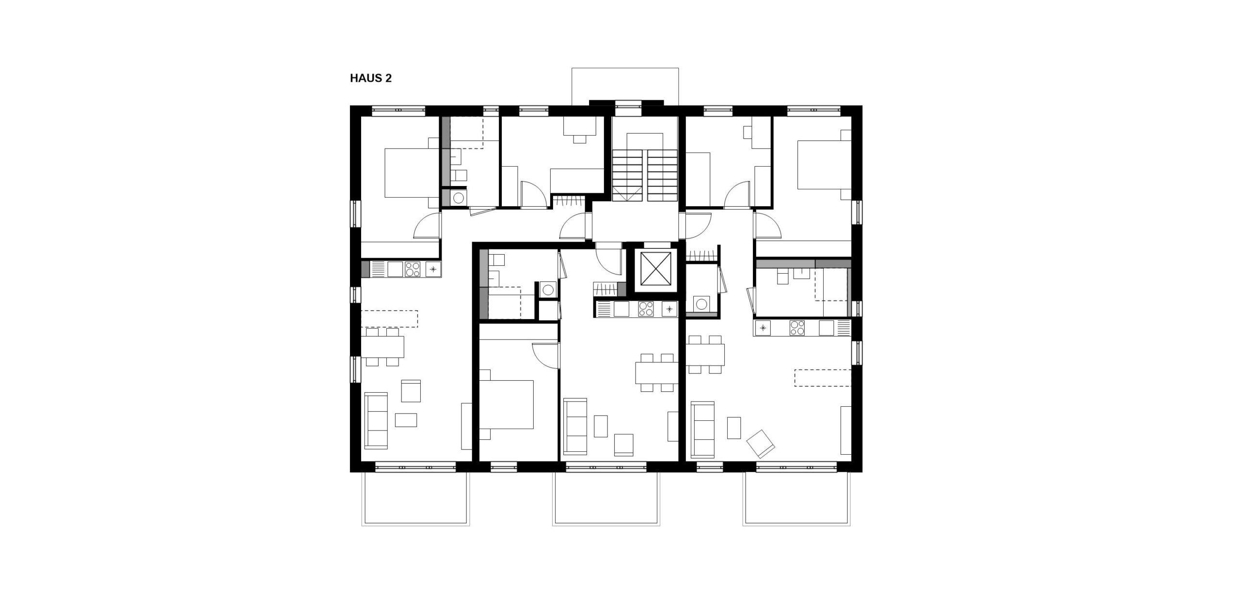 Grundriss Regelgeschoss Haus 2 359 Projekt Gabelsberger Straße Offenbach FFM-ARCHITEKTEN