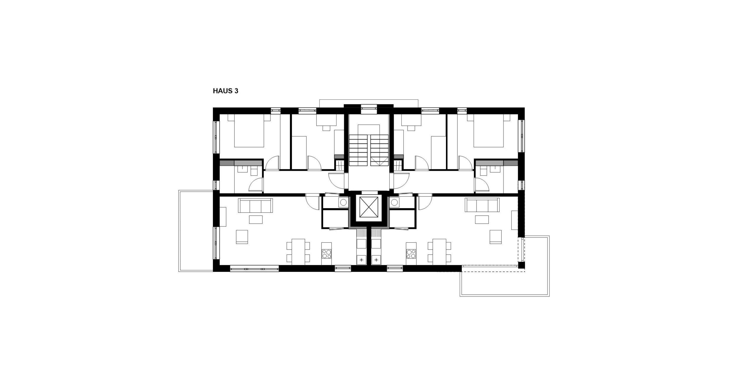 Grundriss Regelgeschoss Haus 3 359 Projekt Gabelsberger Straße Offenbach FFM-ARCHITEKTEN