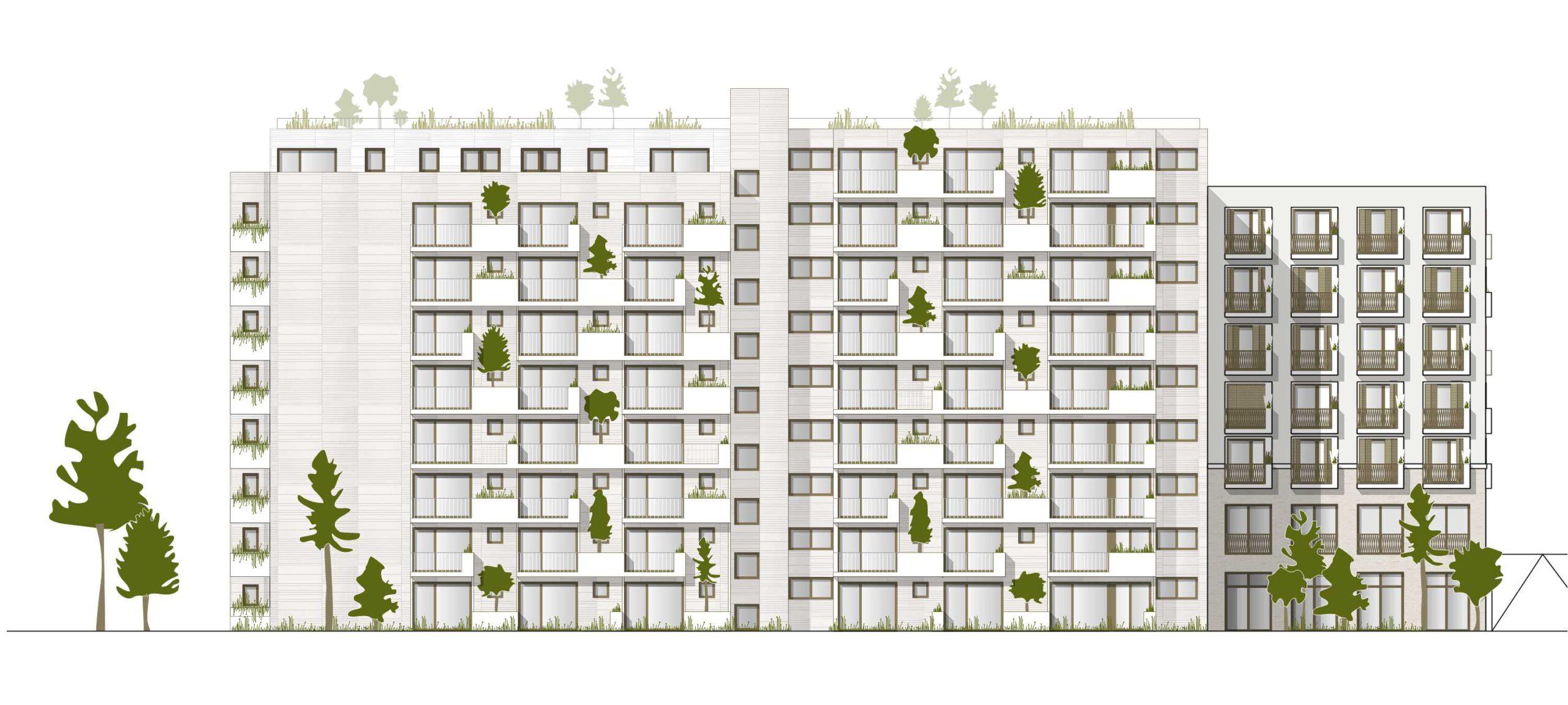 Projekt 377 Avrilléstraße Marktplatz Schwalbach Ansicht Wohnen FFM-ARCHITEKTEN