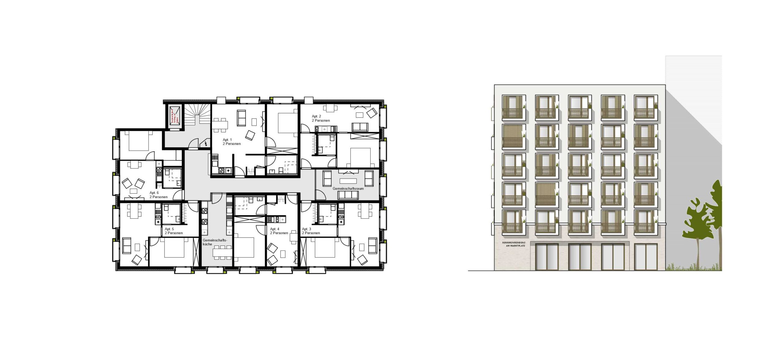 Projekt 377 Avrilléstraße Marktplatz Schwalbach Grundriss Regelgeschoss Senioren FFM-ARCHITEKTEN