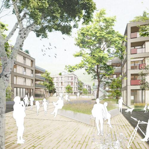 371 Quartier am Rotweg Stuttgart Rot FFM-ARCHITEKTEN Perspektive Fußgänger