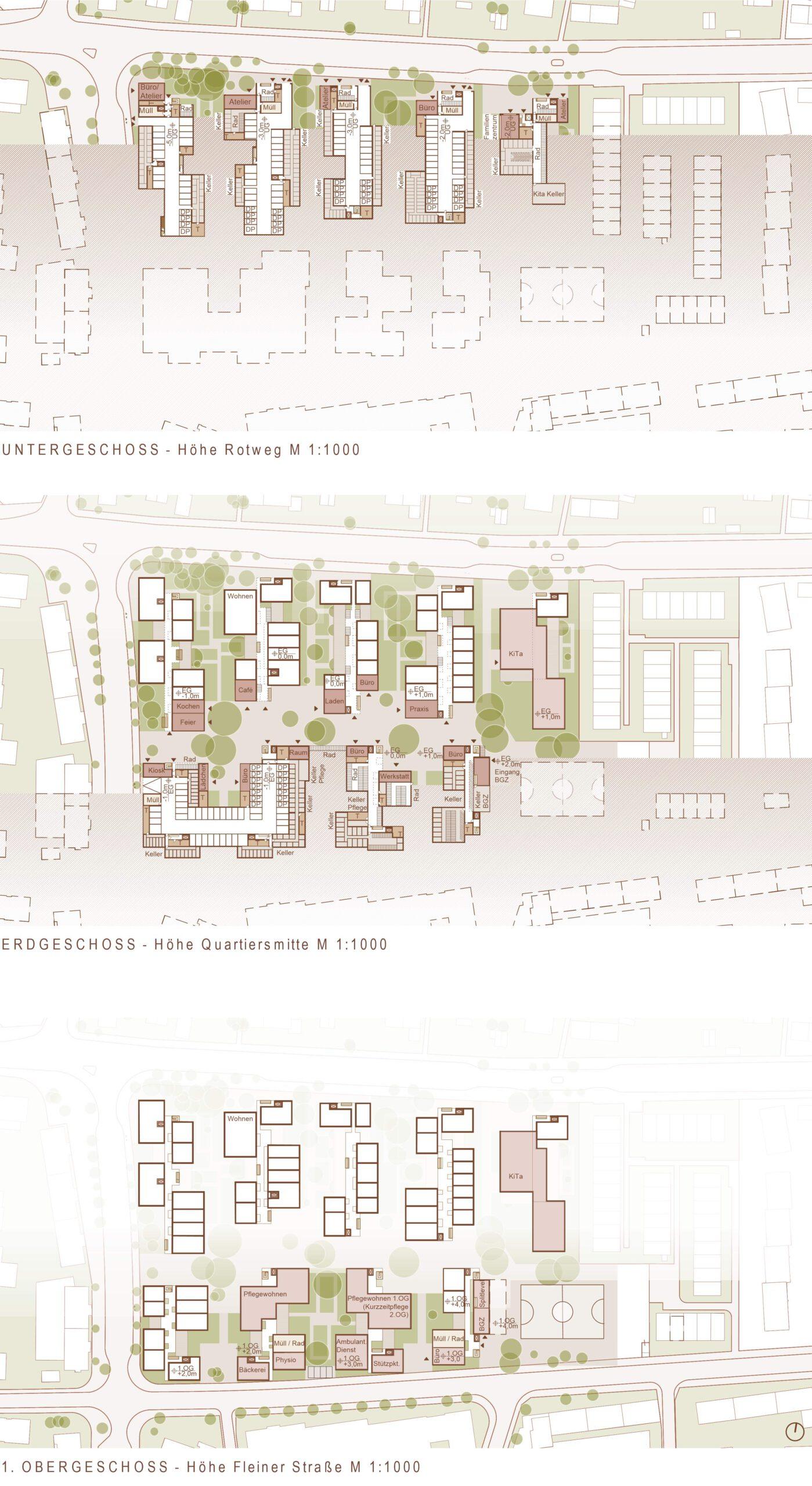 Untergeschoss 371 Quartier am Rotweg Stuttgart Rot FFM-ARCHITEKTEN